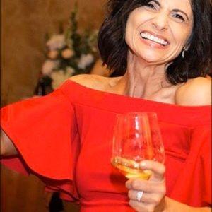 Trina Turk Red Off Shoulder Dress